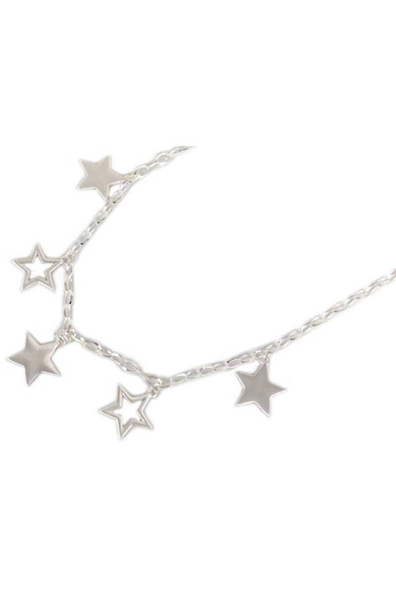 Silvertone Dangling Star Necklace