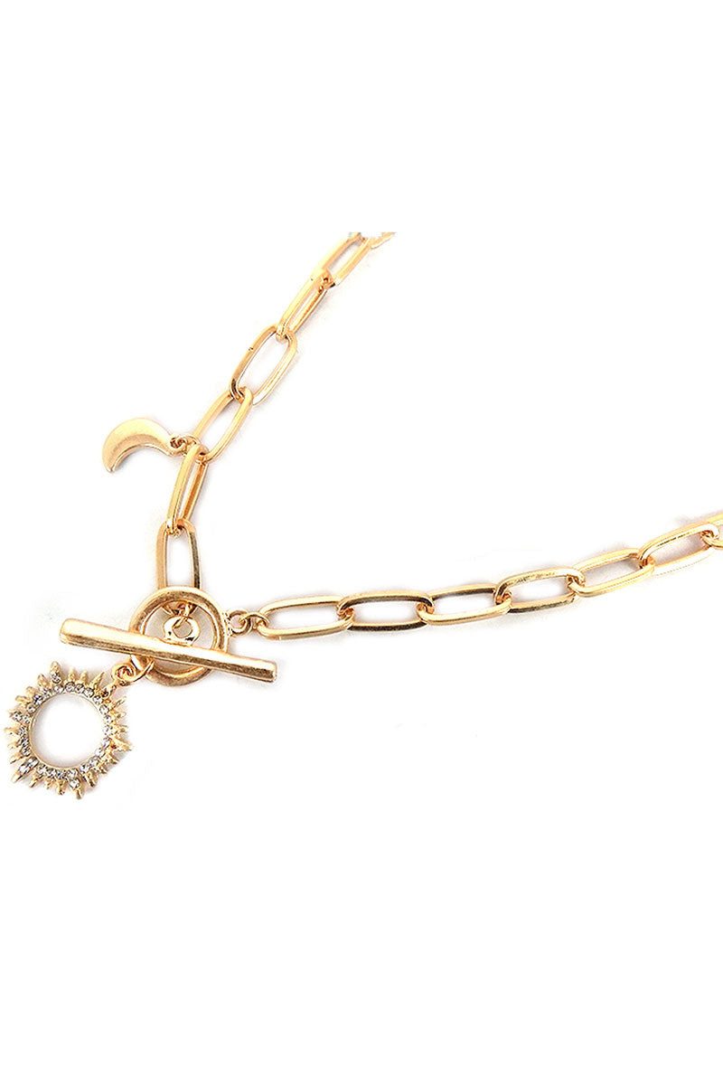 Crystal Goldtone Sun Pendant Toggle Necklace