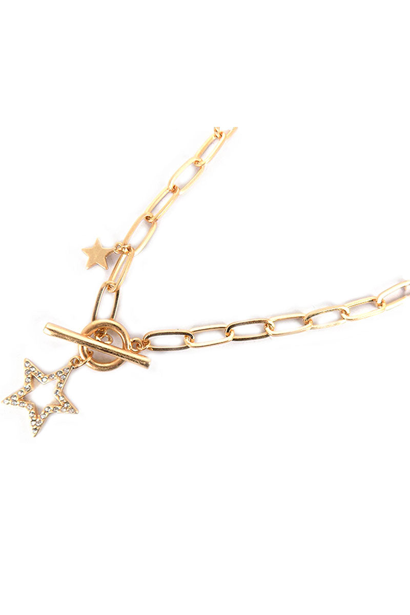 Crystal Goldtone Star Pendant Toggle Necklace