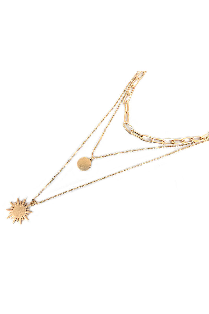 Layered Goldtone Sunburst and Disk Pendant Necklace