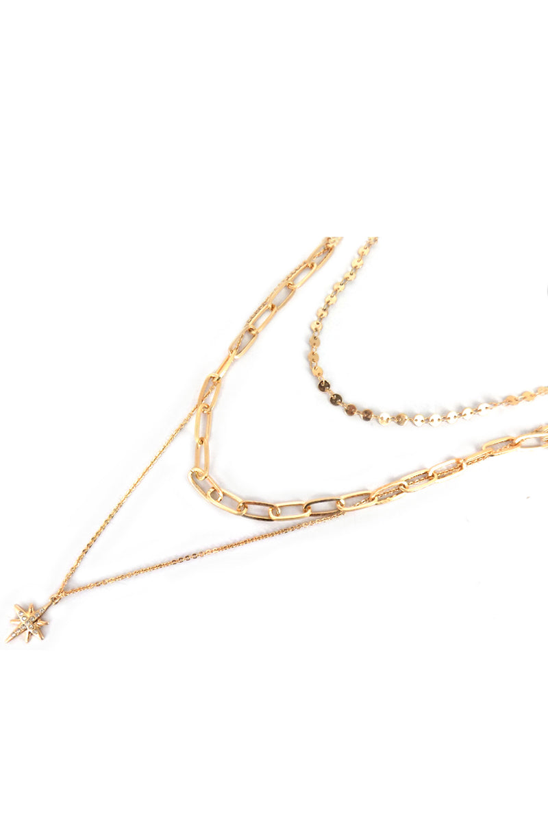 Layered Goldtone North Star Pendant Necklace
