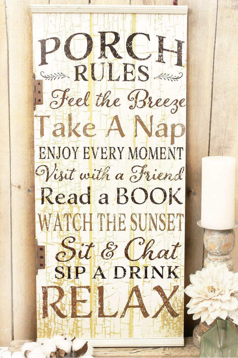 31 x 13.75 'Porch Rules' Wood Wall Sign