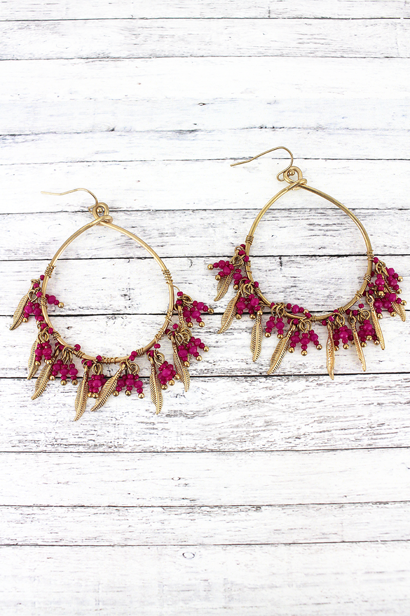 SALE! Crave Fuchsia Bead and Goldtone Feather Fringe Hoop Earrings