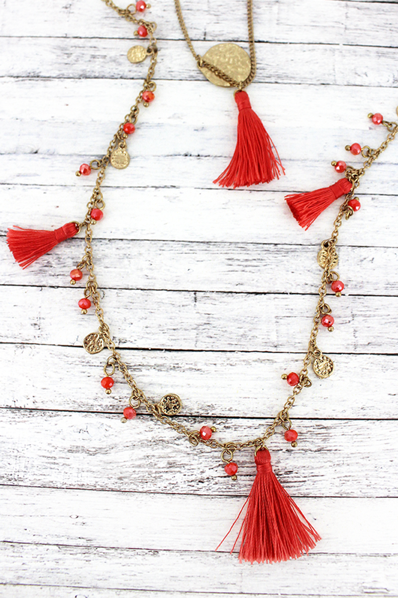 SALE! Crave Coral Tassel and Goldtone Coin Layered Charm Necklace
