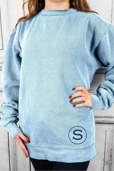 Single Letter Circle Comfort Colors Adult Crew-Neck Sweatshirt #1566 *Choose Your Colors