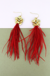 SALE! Crave Goldtone Magnolia and Red Feather Tassel Earrings