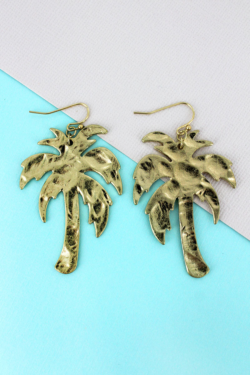SALE! Crave Goldtone Palm Tree Earrings