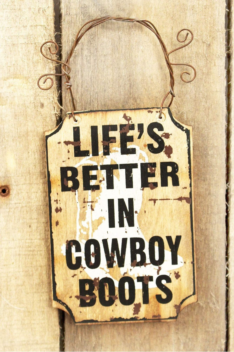 4.5 x 3 'Life's Better In Cowboy Boots' Mini Wood Wall Sign