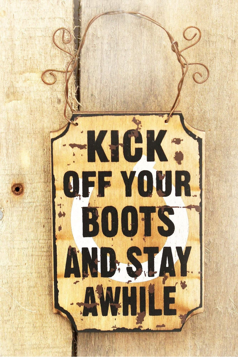 4.5 x 3 'Kick Off Your Boots' Mini Wood Wall Sign