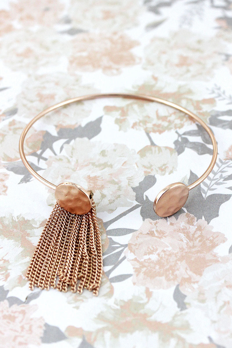 SALE! Rose Goldtone Fringed Double Disk Cuff Bracelet