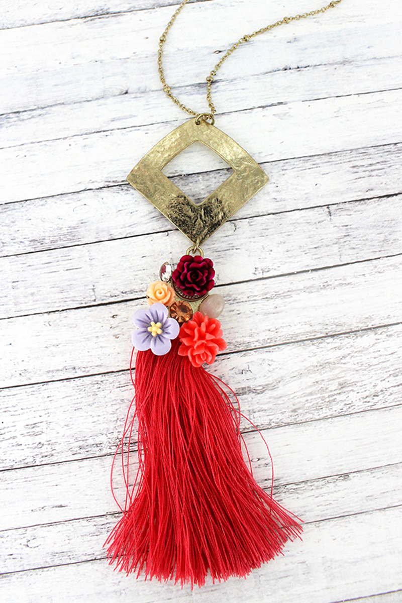 SALE! Crave Goldtone and Coral Garden Bouquet Tassel Necklace