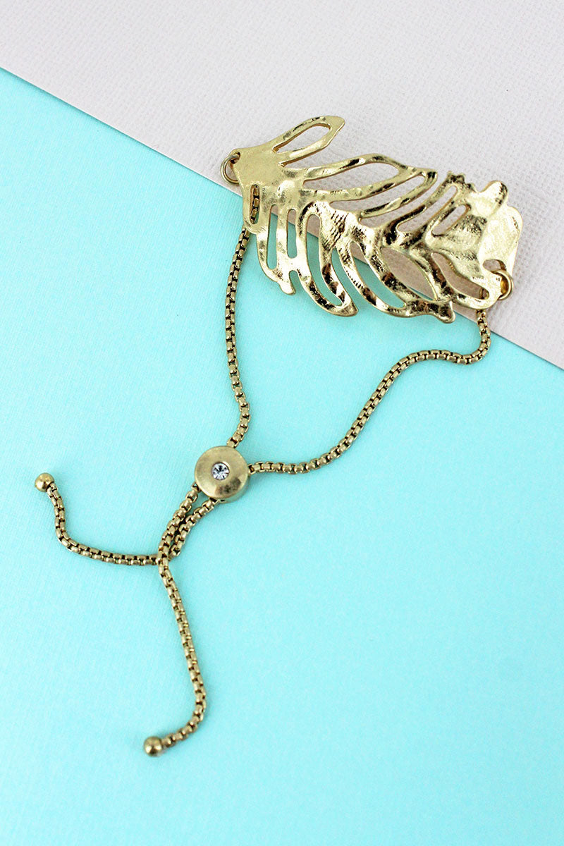 SALE! Crave Goldtone Palm Leaf Bolo Bracelet
