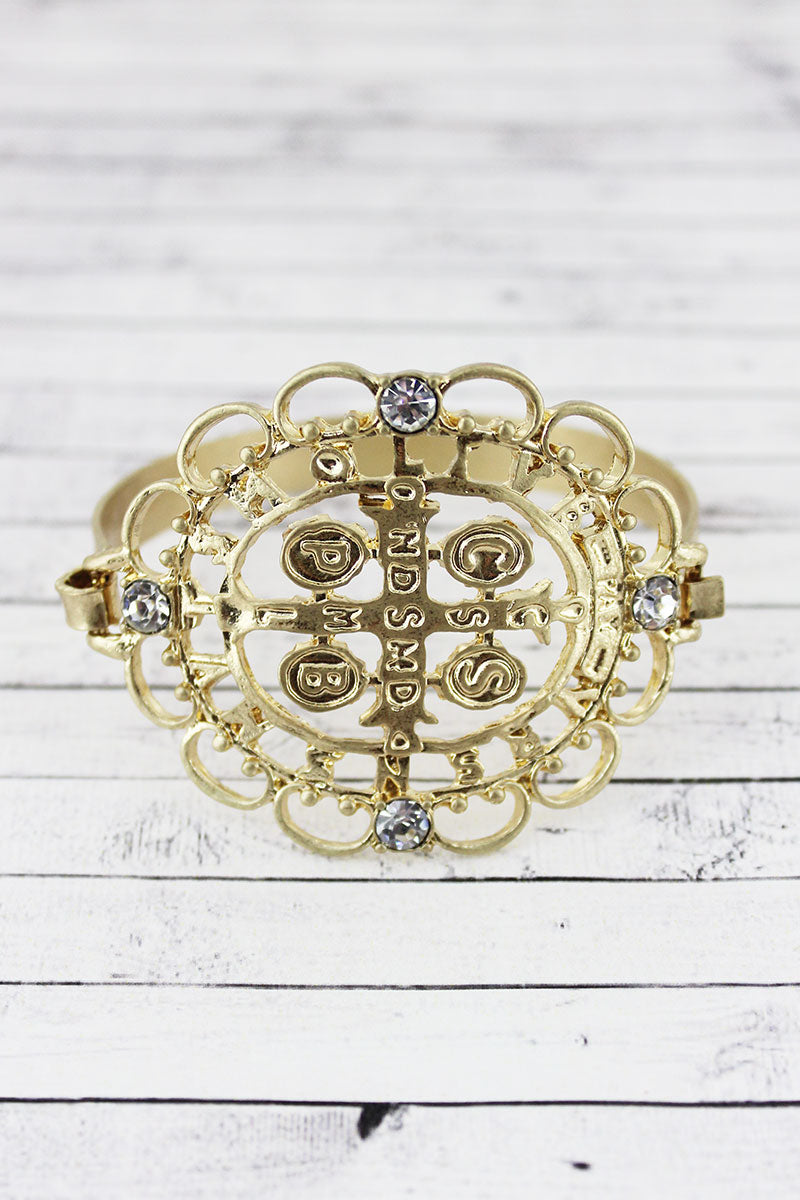 SALE! Goldtone and Crystal Ornate Medallion Bracelet