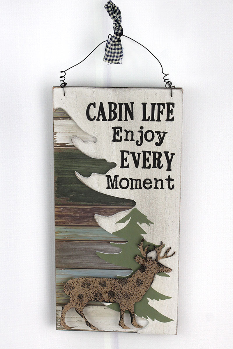 11.75 x 6 'Cabin Life' Wood with Metal Deer Wall Sign