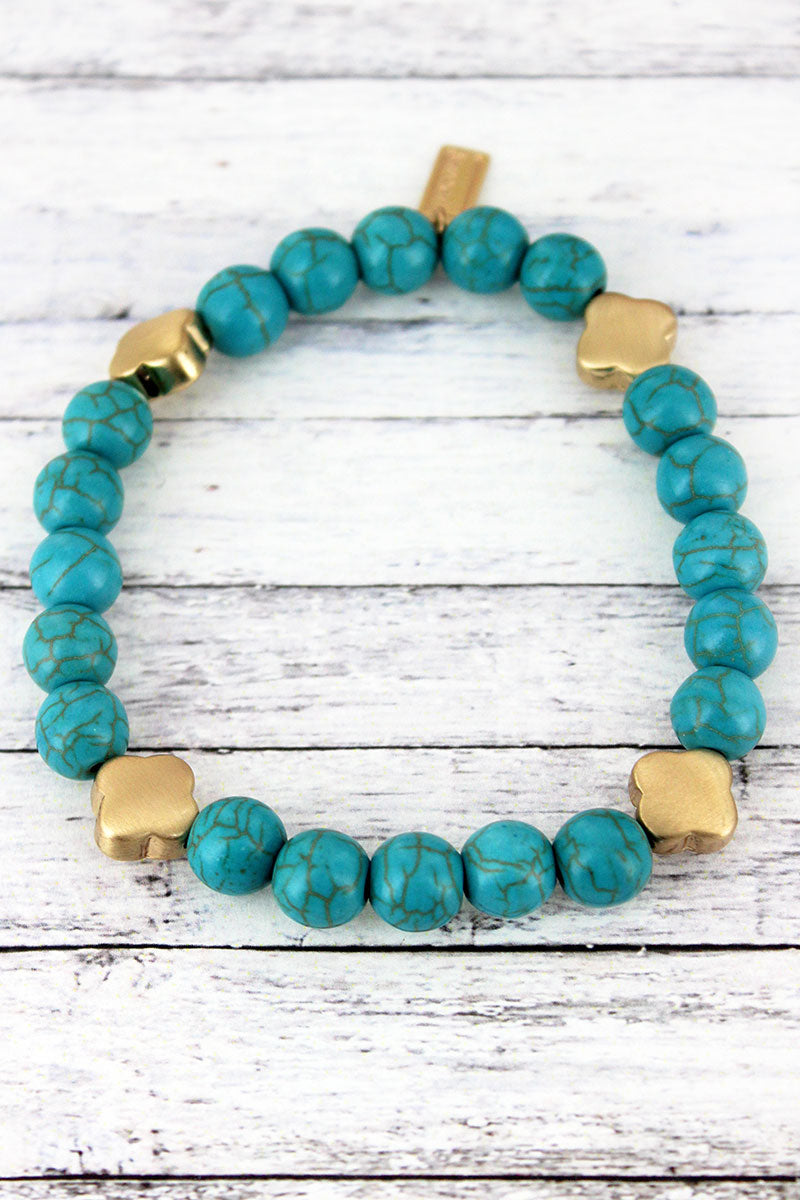 SALE! Turquoise Beaded Quatrefoil Station Bracelet