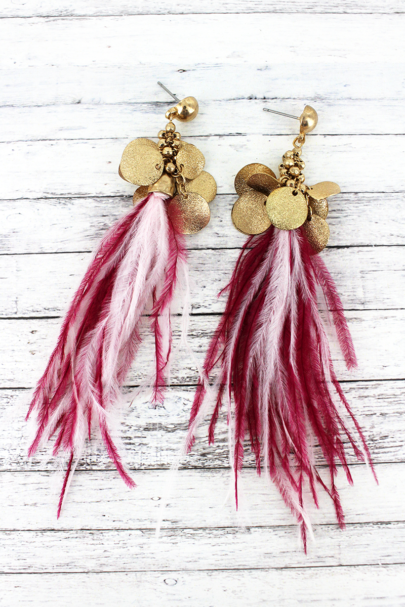 SALE! Crave Goldtone Cluster Disk Fuchsia and White Feather Tassel Earrings