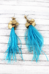 SALE! Crave Goldtone Cluster Disk Blue Feather Tassel Earrings