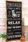 30.75 x 13.5 'Porch Rules' Framed Wood Wall Sign