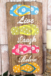 28 x 13 'Live Laugh Relax' Flip Flop Wood Wall Sign