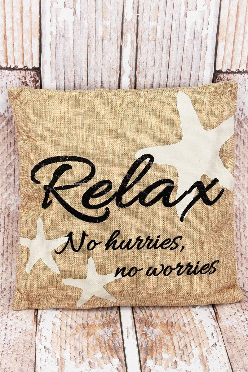 13 x 13 'Relax' Burlap Decorative Pillow