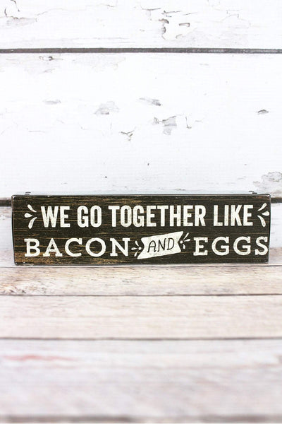 2 x 7.5 'Bacon and Eggs' Metal Trimmed Wood Block Sign