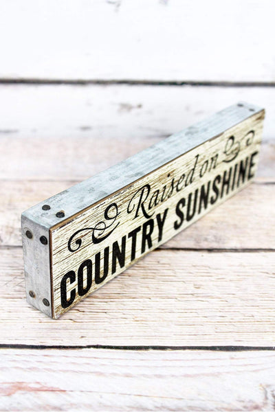 2 x 7.5 'Country Sunshine' Metal Trimmed Wood Block Sign