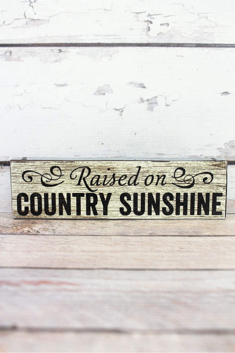 2 x 7.5 'Country Sunshine' Metal Trimmed Wood Block Signn