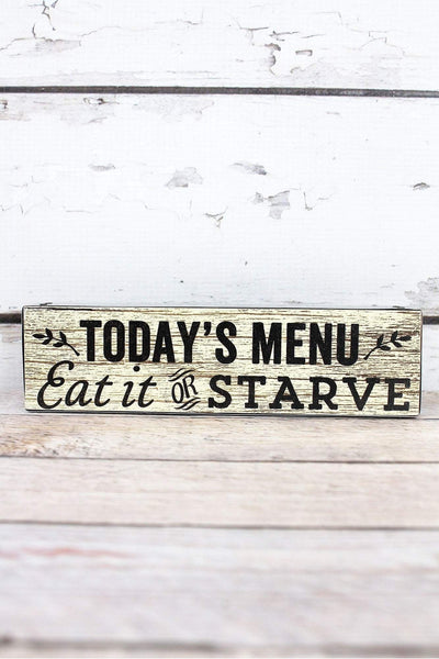 2 x 7.5 'Today's Menu' Metal Trimmed Wood Block Sign