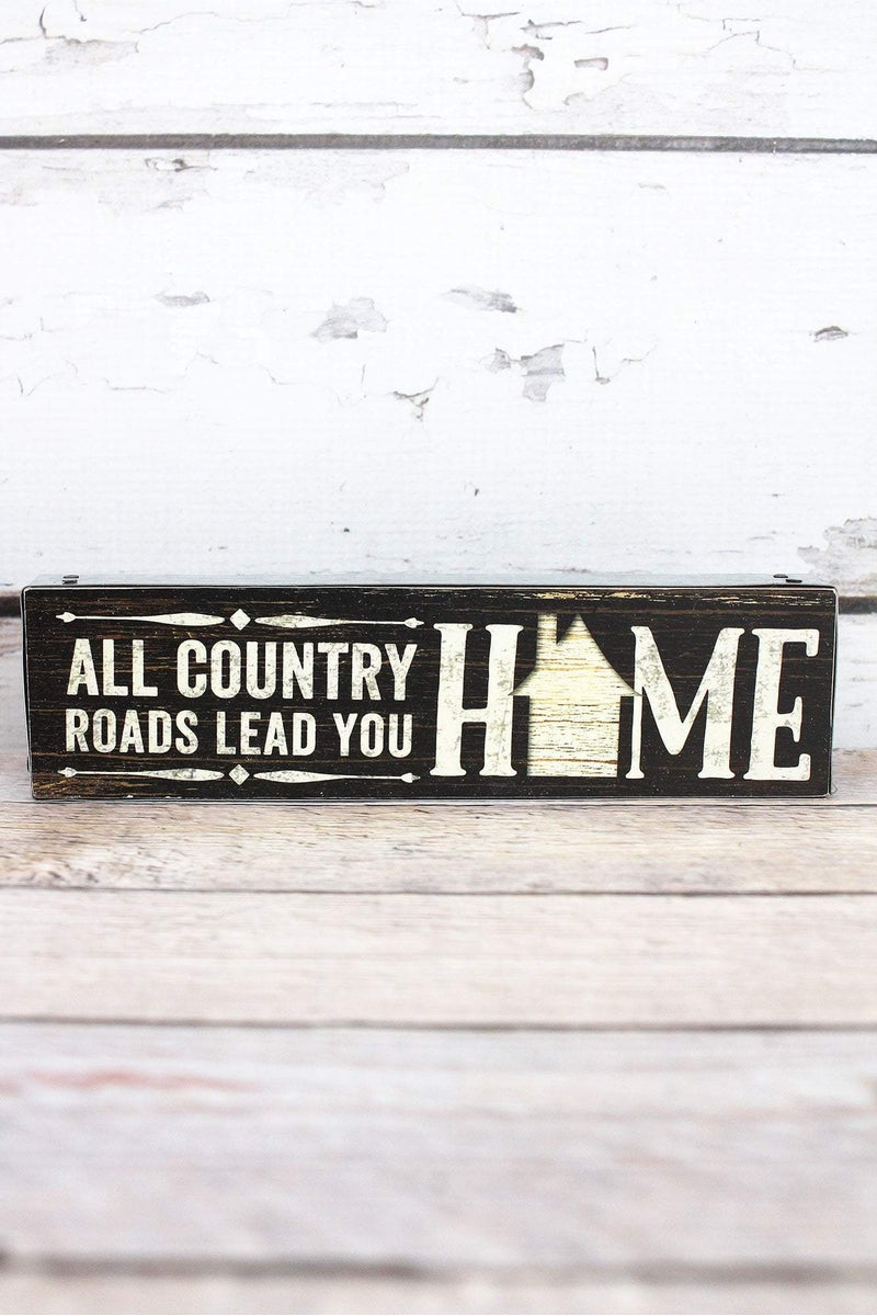 2 x 7.5 'Country Roads' Metal Trimmed Wood Block Sign