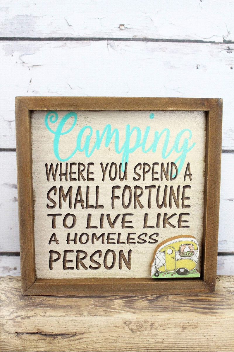 7 x 7 'Camping' Framed Wood Wall Sign