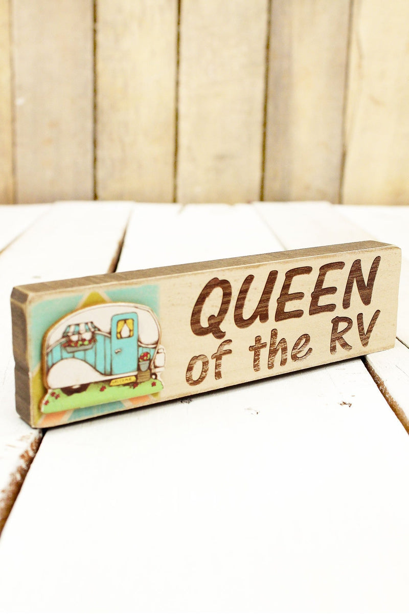 2 x 7.25 'Queen of the RV' Wood Block Sign