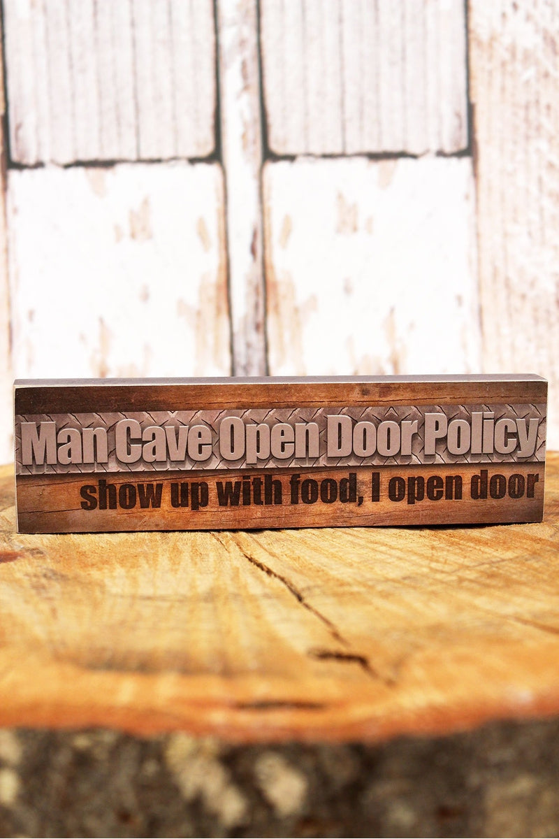 2 x 7.25 'Open Door Policy' Man Cave Wood Tabletop Block