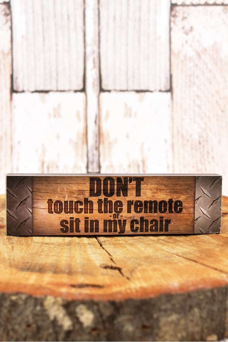 2 x 7.25 'Don't Touch The Remote' Man Cave Wood Tabletop Block
