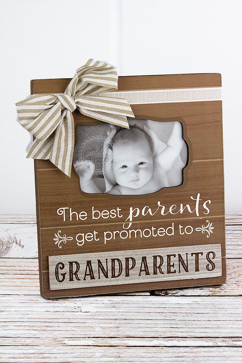 10 x 9 'Grandparents' Wood with Bow 4x6 Photo Frame