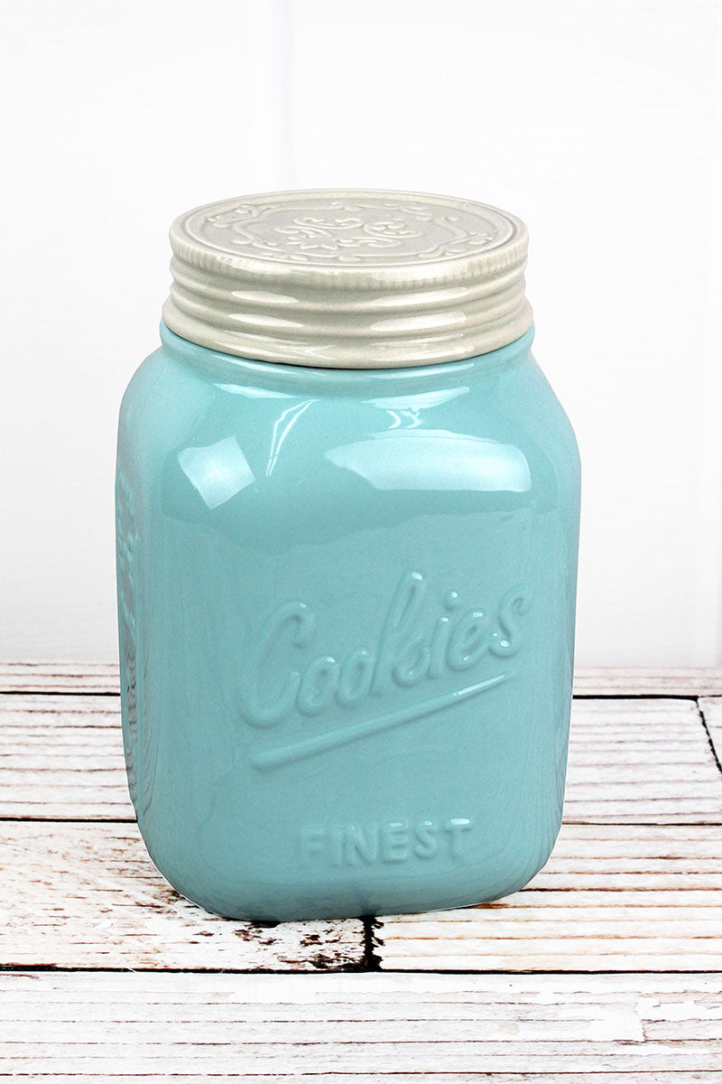 Blue Ceramic Cookie Jar, 9""