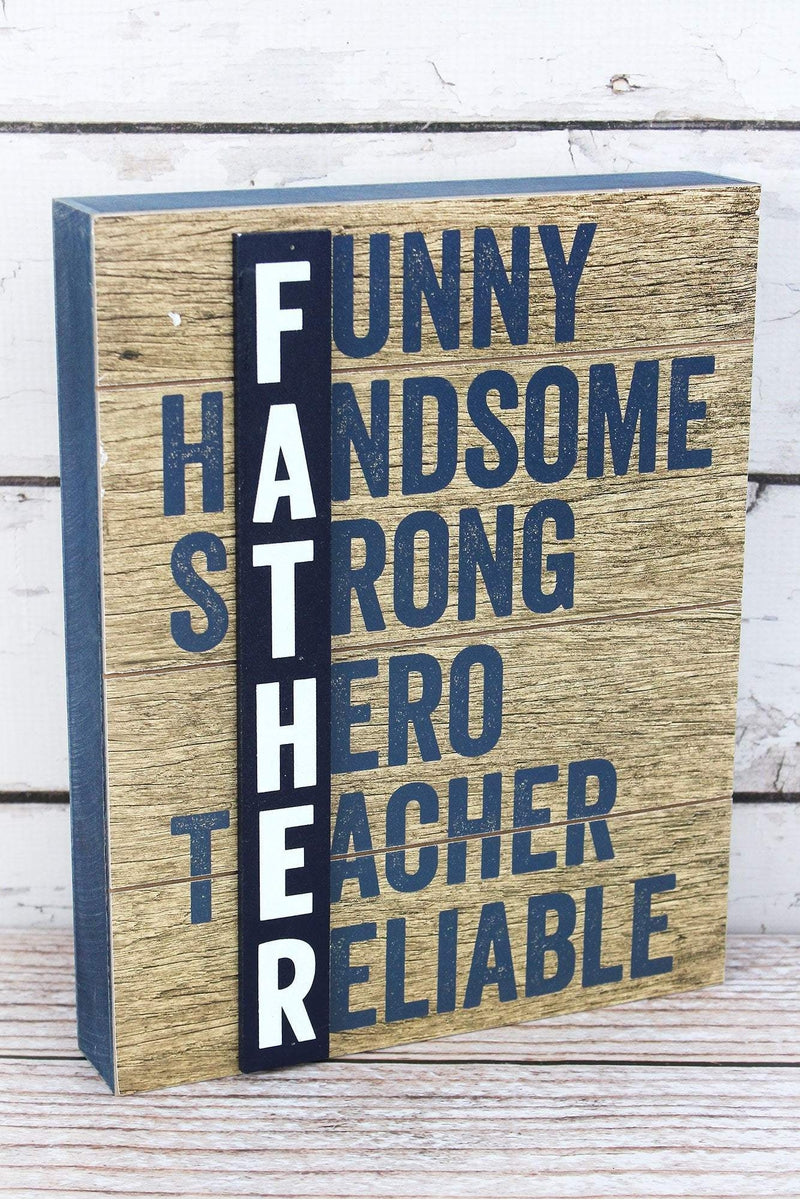 11.25 x 9 'Father' Acrostic Wood Box Sign