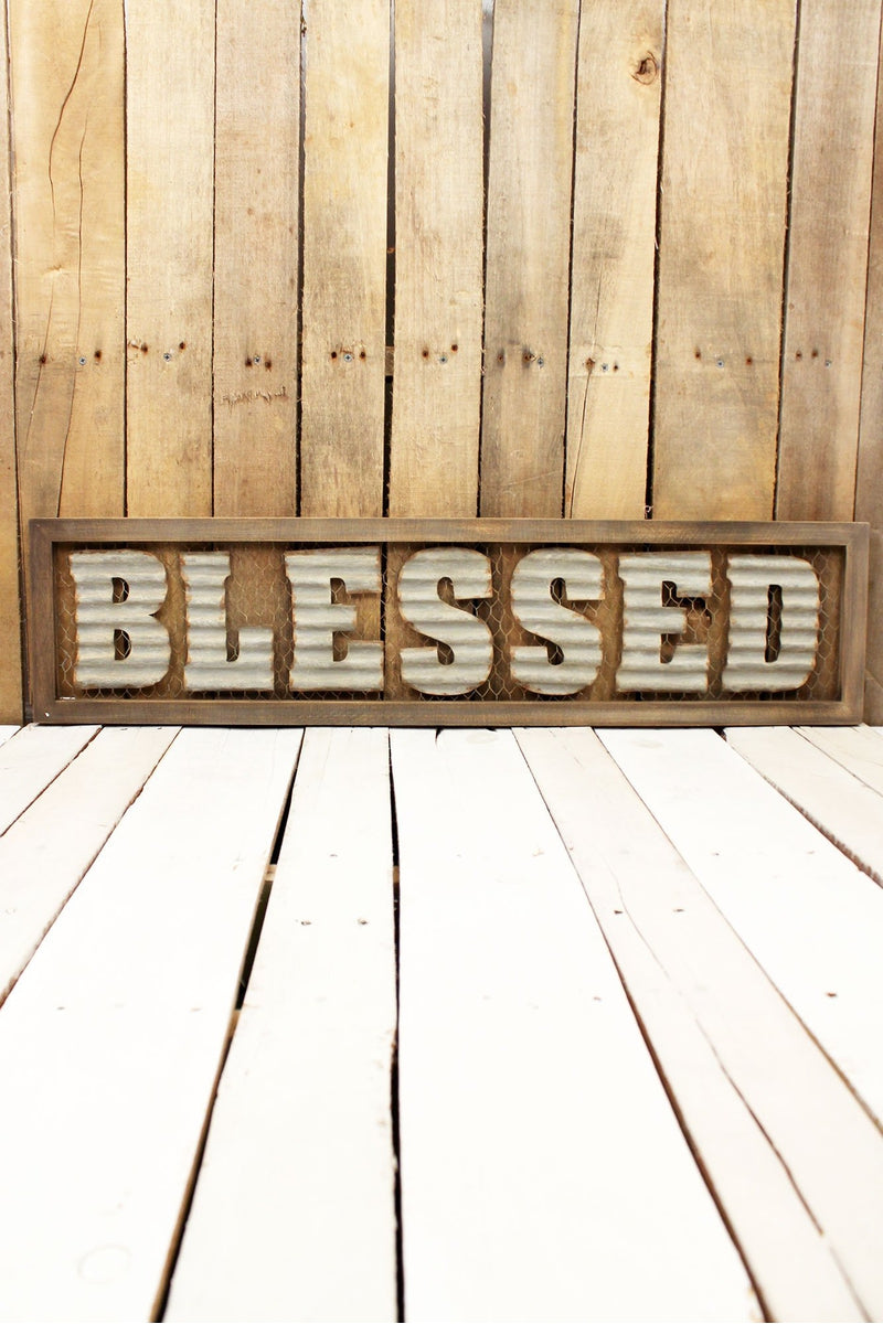 8.25 x 35.5 Framed Metal 'Blessed' Chicken Wire Wall Sign