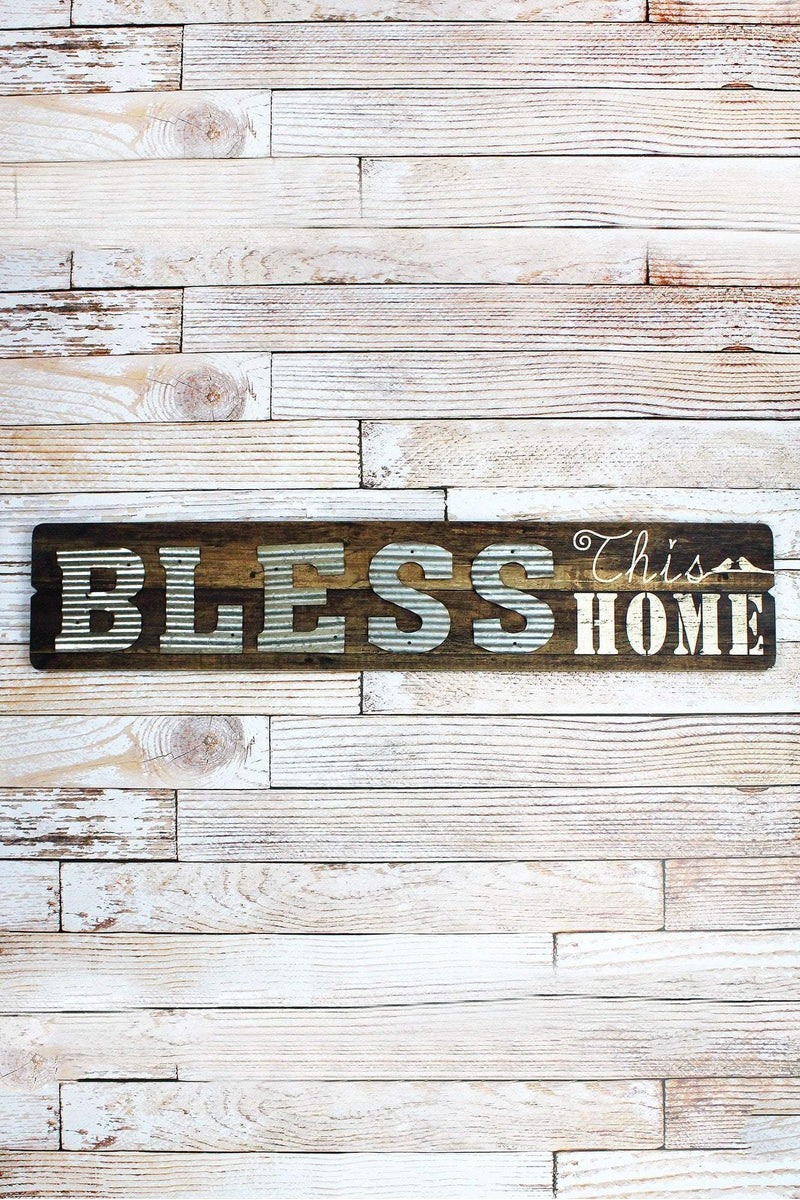 9 x 45 'Bless This Home' Wood and Metal Wall Sign