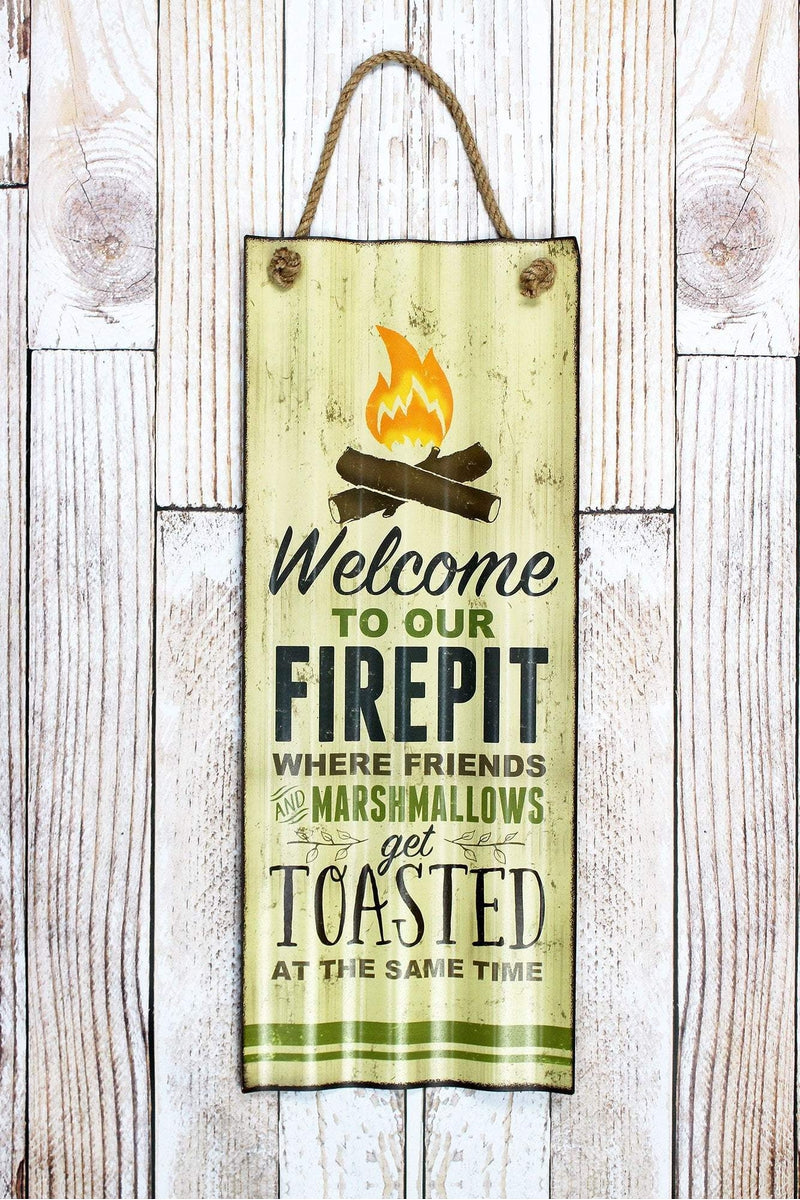 29.5 x 11.5 'Welcome To Our Firepit' Tin Wall Sign