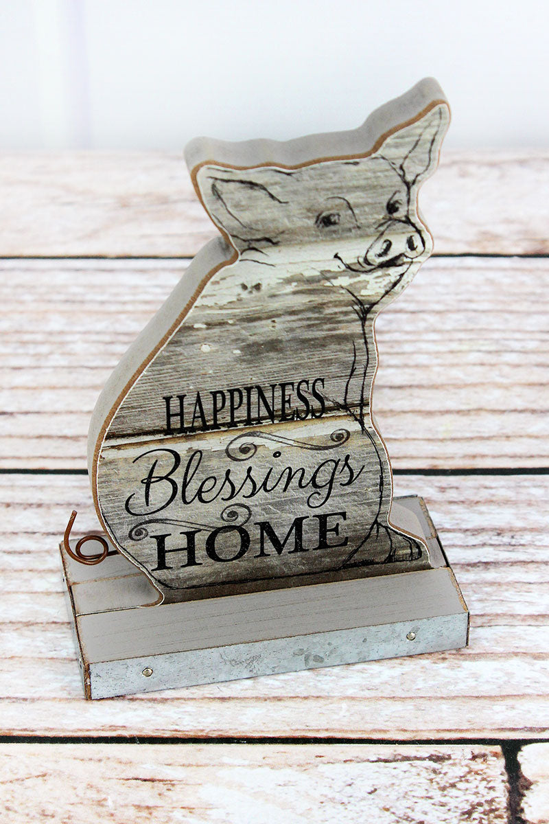6 x 4 'Happiness Blessings Home' Wood Tabletop Pig