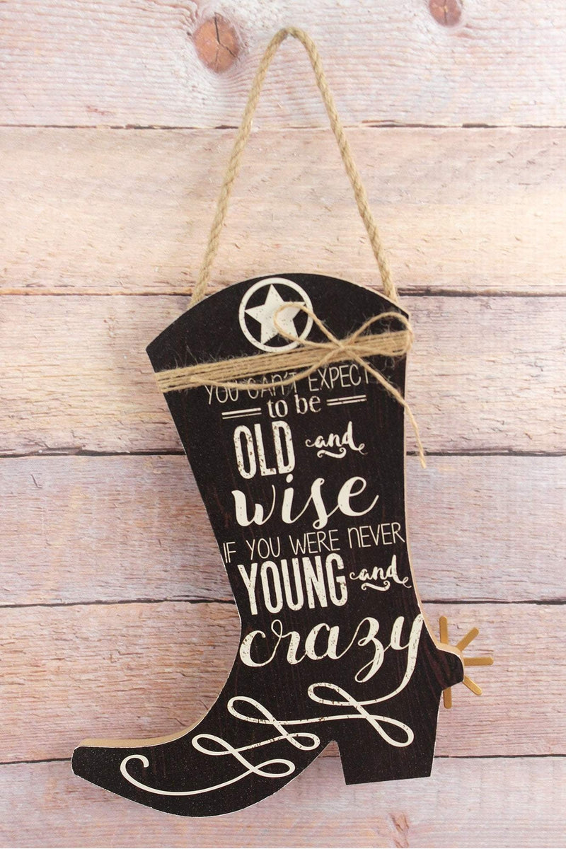 10 x 8.25 'Young and Crazy' Wood Cowboy Boot Wall Sign