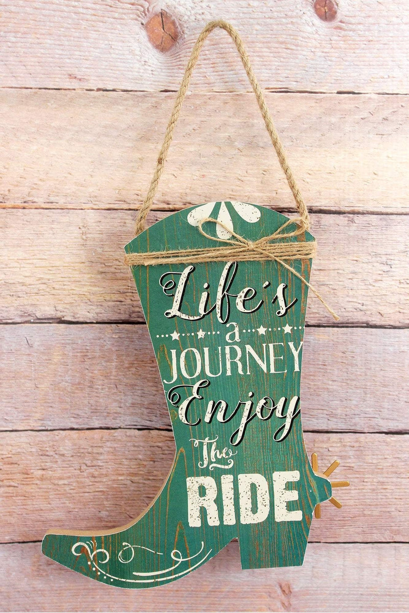 10 x 8.25 'Enjoy The Ride' Wood Cowboy Boot Wall Sign