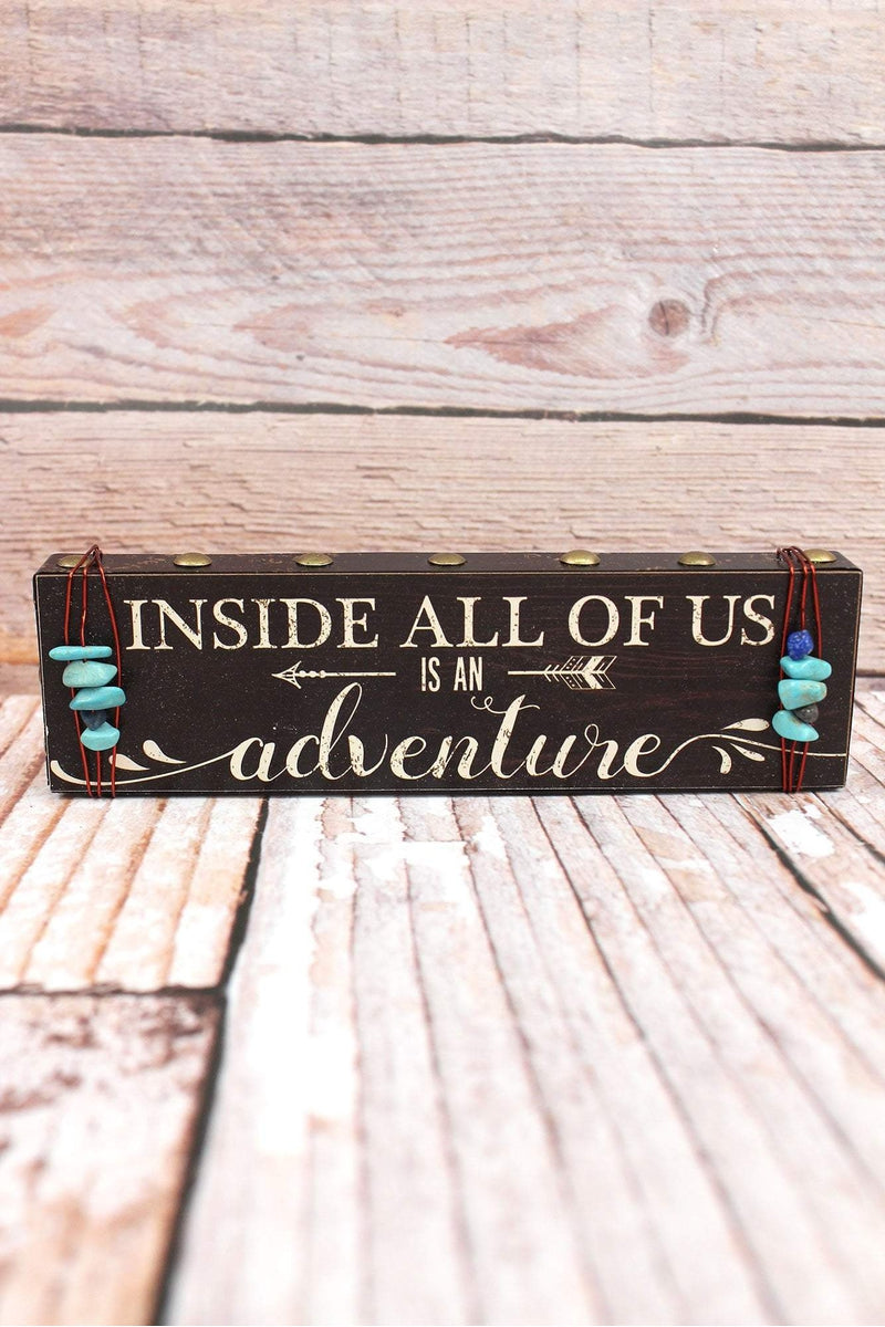2 x 7.25 'Adventure' Turquoise Bead Wrapped Wood Block Sign