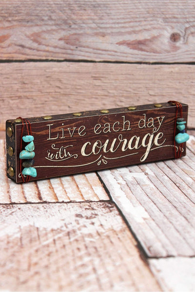 2 x 7.25 'Courage' Turquoise Bead Wrapped Wood Block Sign