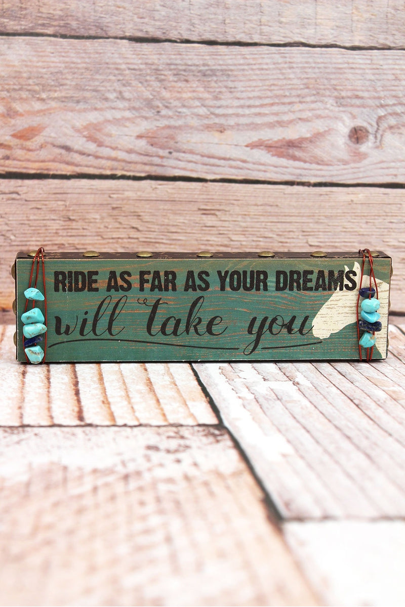 2 x 7.25 'Your Dreams' Turquoise Bead Wrapped Wood Block Sign