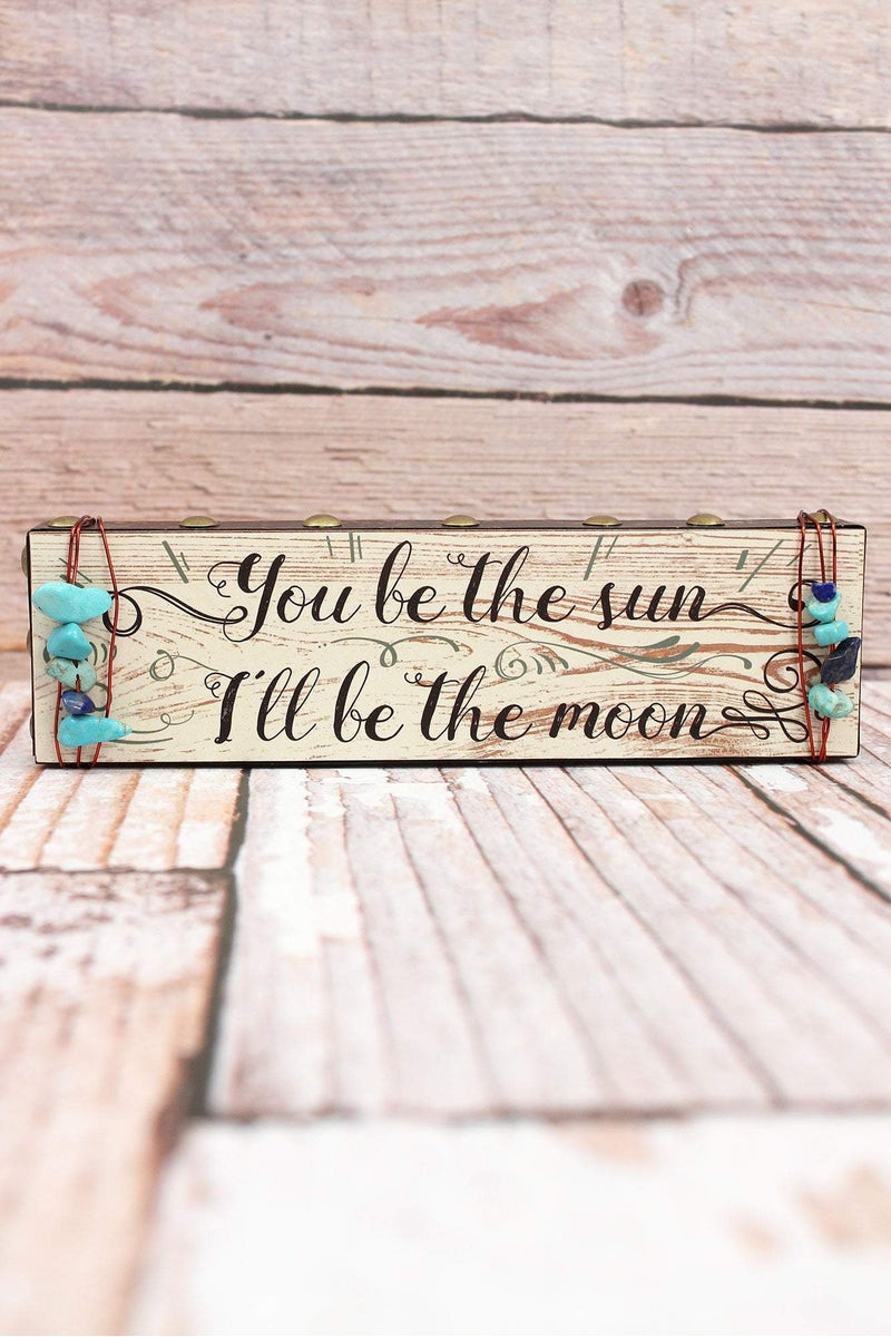 2 x 7.25 'Sun Moon' Turquoise Bead Wrapped Wood Block Sign
