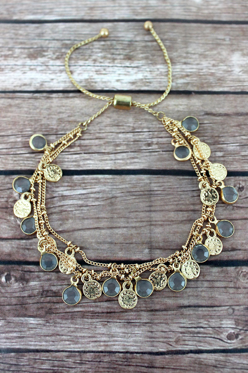 Gray Glass and Goldtone Disk Charm Layered Bolo Bracelet
