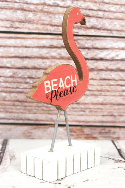 6 x 3.25 'Beach Please' Flamingo Wood Tabletop Decor