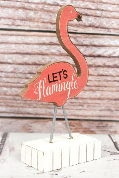 6 x 3.25 'Let's Flamingle' Flamingo Wood Tabletop Decor