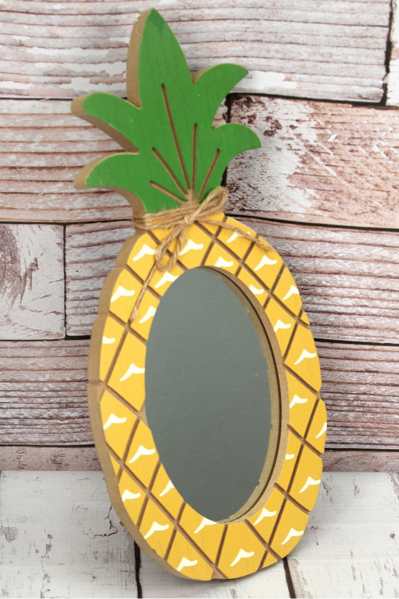 "18"" x 9.25 Pineapple Wood Mirror"